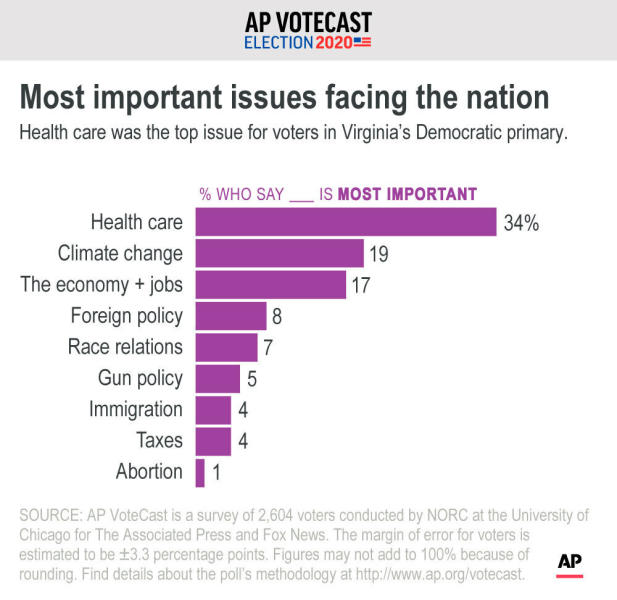 Health care was the top issue for voters in Virginia's Democratic primary.;