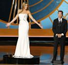 """<p>After Sofia Vergara introduced TV Academy CEO Bruce Rosenblum, she was asked to stand on a revolving platform while Rosenblum spoke about the academy's commitment to diversity. He added, """"What truly matters is that we never forget that our success is based on always giving the viewers something compelling to look at."""" The skit was meant to be funny, but came off as a little off-color and sexist, and viewers weren't thrilled. </p>"""