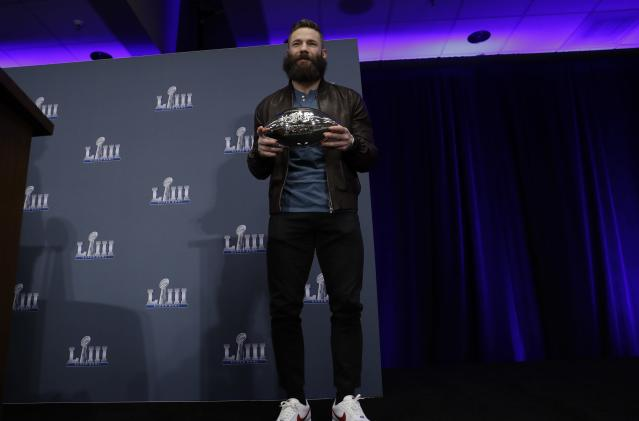 Super Bowl LIII MVP New England Patriots' Julian Edelman poses during a news conference for the NFL Super Bowl 53 football game Monday, Feb. 4, 2019, in Atlanta. The Patriots beat the Los Angeles Rams 13-3. (AP Photo/David J. Phillip)
