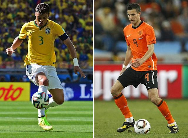 A combination of pictures shows Netherlands' striker and captain Robin van Persie (R) in Durban on June 28, 2010 and Brazil's defender and captain Thiago Silva in Belo Horizonte on June 28, 2014 (AFP Photo/Martin Bernetti, Thomas Coex)