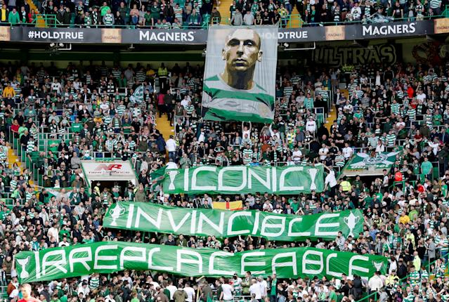Soccer Football - Scottish Premiership - Celtic vs Aberdeen - Celtic Park, Glasgow, Britain - May 13, 2018 Celtic fans display a banner of Celtic's Scott Brown before the match REUTERS/Russell Cheyne
