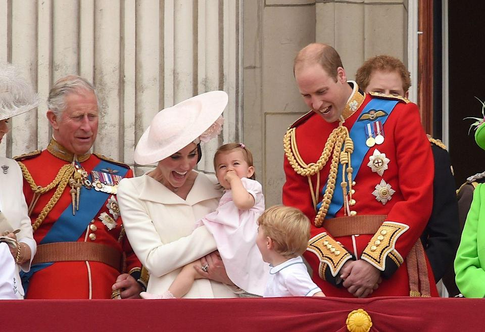 """<p>The whole royal family was on the balcony for <a href=""""https://www.townandcountrymag.com/society/tradition/a10016954/trooping-the-colour-facts/"""" rel=""""nofollow noopener"""" target=""""_blank"""" data-ylk=""""slk:Trooping the Colour"""" class=""""link rapid-noclick-resp"""">Trooping the Colour</a>, and Will and Kate found a way to make it fun for the kids. <br></p>"""