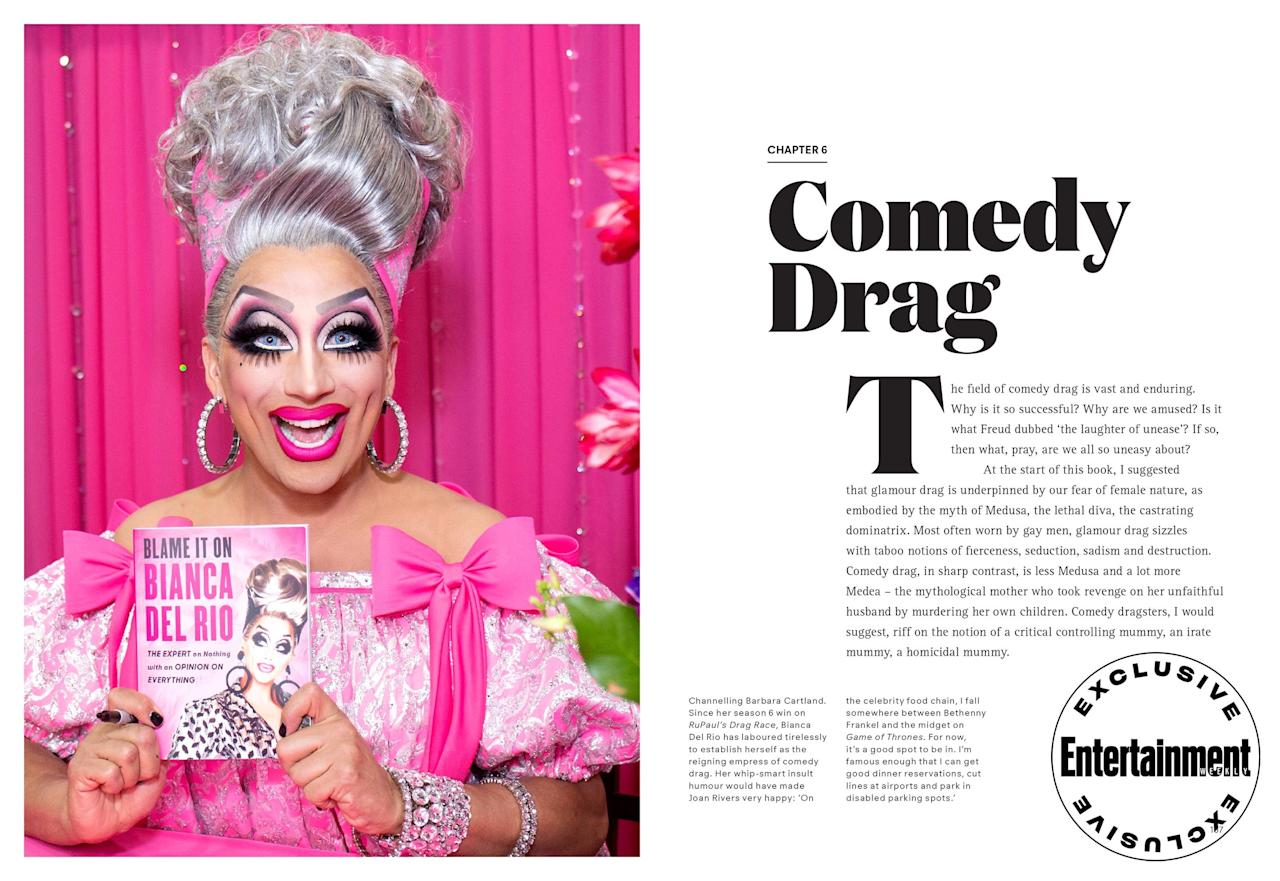 """Thanks to the great tradition of <a href=""""https://ew.com/tag/rupaul/"""" target=""""_blank"""">RuPaul</a>-inspired-by-<a href=""""https://ew.com/movies/2019/06/21/paris-is-burning-restoration-interview/"""" target=""""_blank""""><em>Paris-Is-Burning</em></a>, we already know reading is fundamental. And EW is opening the library on a wealth of queer history via eight exclusive spreads from Simon Doonan's upcoming hardcover book <a href=""""https://www.amazon.com/Drag-Simon-Doonan/dp/178627423X"""" target=""""_blank""""><em>Drag: The Complete Story</em></a>. From radical drag and trans activists like Marsha P. Johnson to contemporary trailblazers like RuPaul and <a href=""""https://ew.com/tag/bianca-del-rio/"""" target=""""_blank"""">Bianca Del Rio</a>, <em>Drag</em> chronicles the rise of the fabulous art form from ancient Egypt and Rome through the pop cultural domination of <a href=""""https://ew.com/creative-work/rupauls-drag-race/"""" target=""""_blank""""><em>RuPaul's Drag Race</em></a>. Before <em>Drag</em> goes on sale beginning Sept. 17 (all author proceeds will go to the <a href=""""https://protect-us.mimecast.com/s/wmiRCyPzP2srXJPyMsQ5_45?domain=aliforneycenter.org"""">Ali Forney Center</a> for LGBTQ homelessness), check out EW's exclusive excerpts in the spreads ahead."""