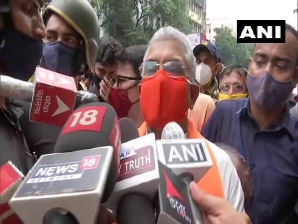 West Bengal BJP President Dilip Ghosh speaking to reporters in Kolkata on Monday. [Photo/ANI]