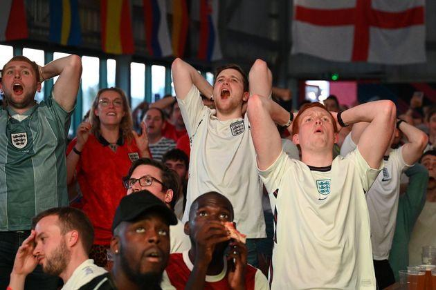 England fans react during the semi-final between England and Denmark (Photo: Leon Neal via Getty Images)