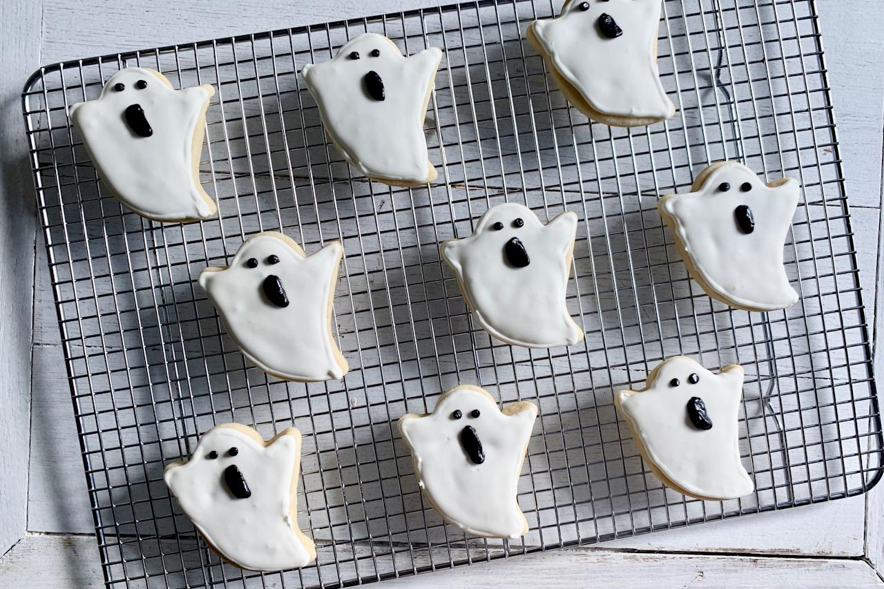 "<p><strong>Recipe: <a href=""https://www.southernliving.com/recipes/ghost-cookies"">Ghost Cookies</a></strong></p> <p>Boo! All it takes is a simple shortbread and a coating of shiny royal icing to create these ghoulish ghost cookies. </p>"