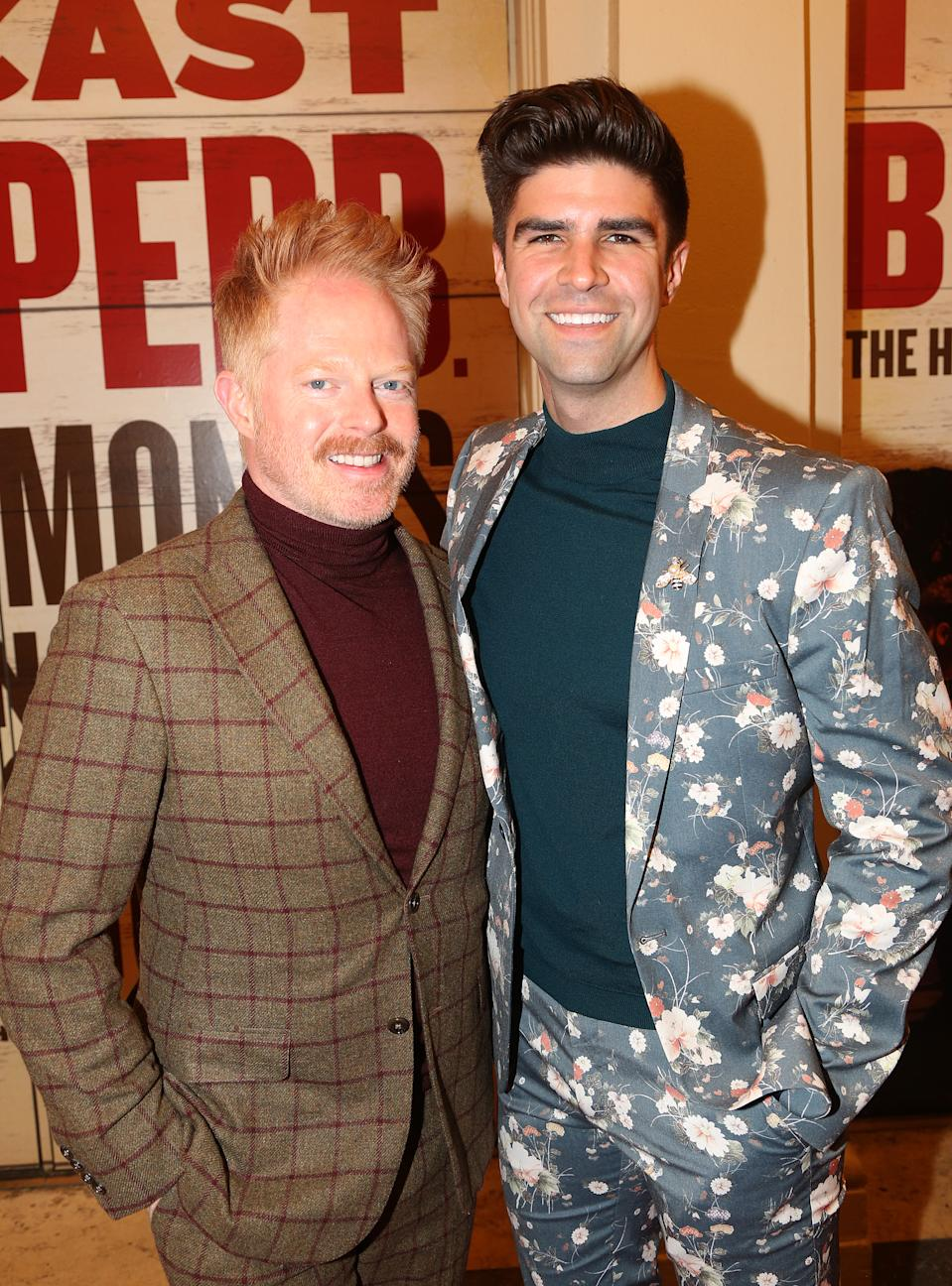 """Jesse Tyler Ferguson and Justin Mikita pose at the opening night of the new Bob Dylan Musical """"Girl From The North Country"""" on Broadway at The Belasco Theatre on March 5, 2020 in New York City."""