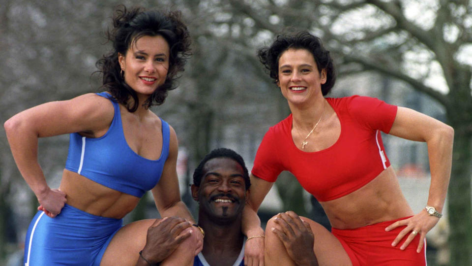 Suzanne Cox (L) and Eunice Huthart (R) poses with Saracen after joining 'Gladiators'. (Photo by Fiona Hanson/PA Images via Getty Images)