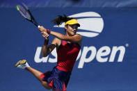 Emma Raducanu, from Britain, returns a shot to Shuai Zhang, of China,during the second round of the US Open tennis championships, Thursday, Sept. 2, 2021, (AP Photo/Seth Wenig)