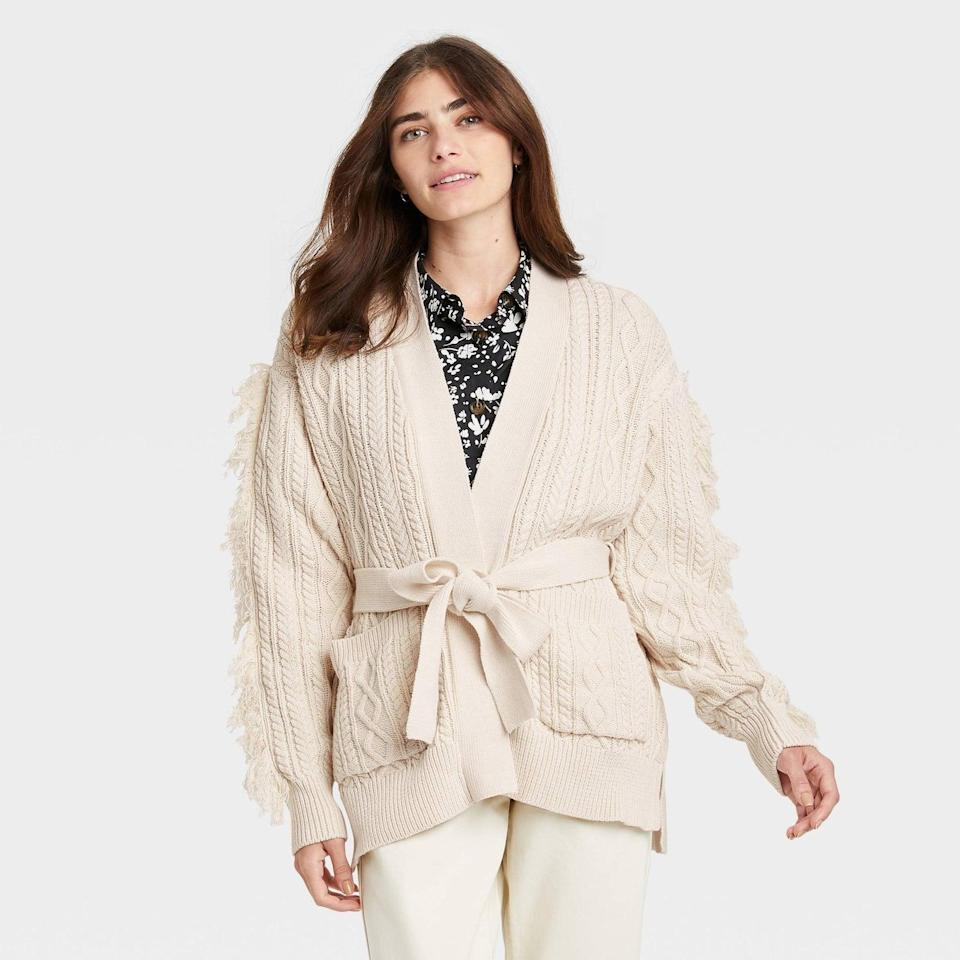 <p>This <span>Who What Wear Women's Cardigan</span> ($40) definitely looks warm enough to replace a coat, especially if you layer another sweater underneath.</p>