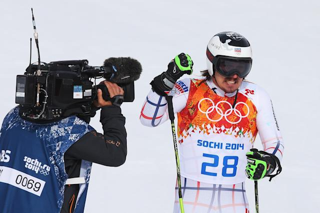 SOCHI, RUSSIA - FEBRUARY 19: Ondrej Bank of the Czech Republic reacts during the Alpine Skiing Men's Giant Slalom on day 12 of the Sochi 2014 Winter Olympics at Rosa Khutor Alpine Center on February 19, 2014 in Sochi, Russia. (Photo by Alexander Hassenstein/Getty Images)