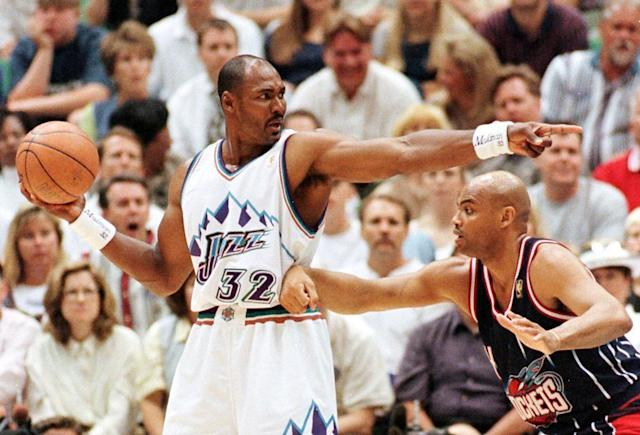 Karl Malone and Charles Barkley finally met in the playoffs in 1998. (Getty Images)