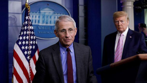 PHOTO: National Institute of Allergy and Infectious Diseases director Dr. Anthony Fauci turns the podium over to U.S. President Donald Trump during the coronavirus response daily briefing at the White House in Washington, U.S., April 10, 2020.  (Yuri Gripas/Reuters)