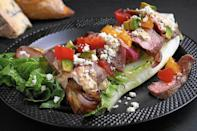"""<p>Steak and potatoes are a timeless combination any time of the year but for a summery spin on this duo, cook everything on the grill and serve over lettuce with homemade ranch dressing.</p> <p><a href=""""https://www.thedailymeal.com/recipes/grilled-steak-and-potato-salad-recipe-1?referrer=yahoo&category=beauty_food&include_utm=1&utm_medium=referral&utm_source=yahoo&utm_campaign=feed"""" rel=""""nofollow noopener"""" target=""""_blank"""" data-ylk=""""slk:For the Grilled Steak and Potato Salad recipe, click here"""" class=""""link rapid-noclick-resp"""">For the Grilled Steak and Potato Salad recipe, click here</a></p>"""