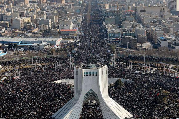 PHOTO: Iranian mourners fill the streets for a funeral procession in Tehran on Jan. 6, 2020, for Gen. Qassem Soleimani who was killed in a U.S. drone strike in Iraq. (Office of Iran's Supreme Leader via Getty Images)