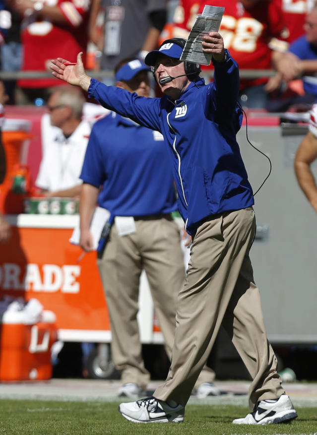 New York Giants Tom Coughlin yells to a game official during the second half of an NFL football game against the Kansas City Chiefs at Arrowhead Stadium in Kansas City, Mo., Sunday, Sept. 29, 2013. (AP Photo/Ed Zurga)