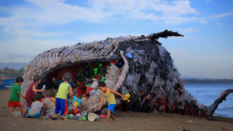 Dead whale washes up in Philippines shores with 40 kg of plastic in its stomach