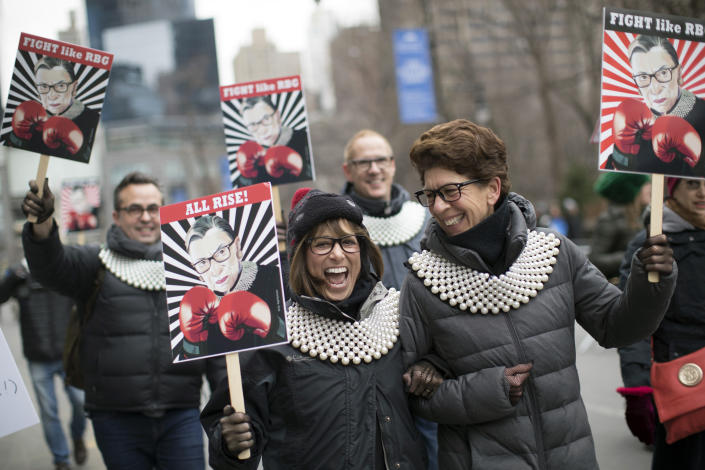 Supporters of Justice Ruth Bader Ginsburg march in during the Women's March Alliance, Saturday, Jan. 19, 2019, in New York. (Photo: Mary Altaffer/AP)