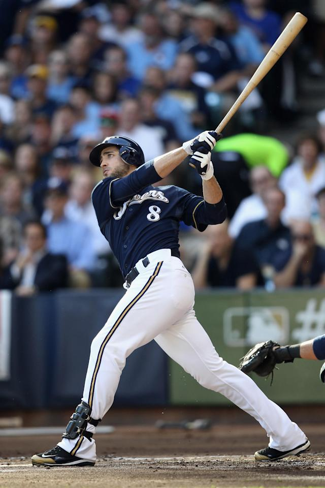 MILWAUKEE, WI - FILE: Ryan Braun #8 of the Milwaukee Brewers hits a two-run home run in the bottom of the first inning against the St. Louis Cardinals during Game one of the National League Championship Series at Miller Park on October 9, 2011 in Milwaukee, Wisconsin. Ryan Braun of the Milwaukee Brewers was named the National League Most Valuable Player on November 22, 2011. (Photo by Christian Petersen/Getty Images)
