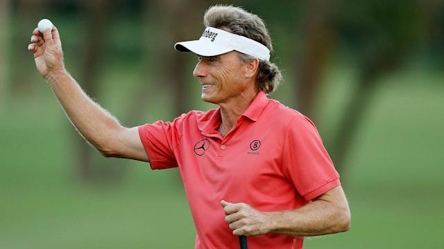 Bernhard Langer eagled the par-5 18th for a 4-under 68 and a one-stroke lead Saturday in the PGA Tour Champions' Oasis Championship.