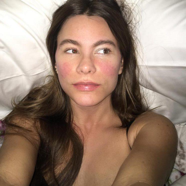 Of course, Sofia Vergara would look cute while sick in bed with a 102 degree fever. (Photo: Sofia Vergara via Instagram)