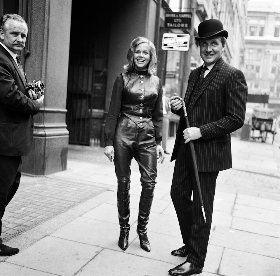 Honor Blackman and Patrick MacNee from the television programme The Avengers, 18th September 1963. (Photo by Bela Zola/Mirrorpix/Getty Images)