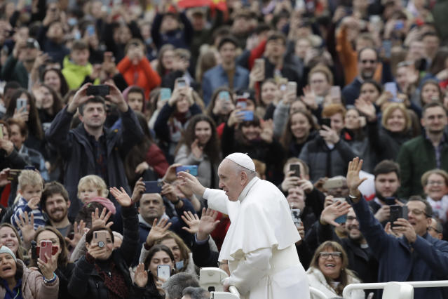 Tens of thousands of worshippers turned out to see the Pope's address. (AP)