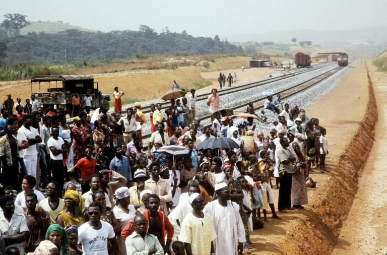 A file picture of the January 18, 1983, inauguration of part of Trans-Gabon Railway