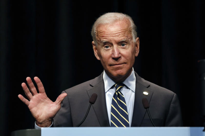 In this Aug. 21, 2019 photo, Democratic presidential candidate former Vice President Joe Biden speaks at the Iowa Federation of Labor convention in Altoona, Iowa. Biden entered the Democratic primary promising to reject donations from lobbyists. Yet a review of campaign finance data by The Associated Press finds he's accepted roughly $200,000 from employees of major lobbying firms.
