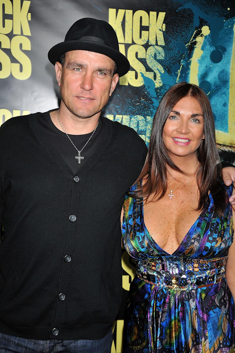 "Actor Vinnie Jones and wife Tanya arrive at the premiere of ""Kick-Ass"" held at the ArcLight Theater in Hollywood. (Photo by Frank Trapper/Corbis via Getty Images)"