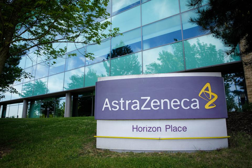 LUTON, May 18, 2020  -- Photo taken on May 18, 2020 shows a logo in front of AstraZeneca's building in Luton, Britain. The Oxford University has confirmed a global licensing agreement with AstraZeneca, which will make 30 million vaccine doses available to Britain by September if the trials are successful, as part of an agreement for 100 million doses in total, said British Secretary of State for Business, Energy and Industrial Strategy Alok Sharma. (Photo by Tim Ireland/Xinhua via Getty) (Xinhua/ via Getty Images)