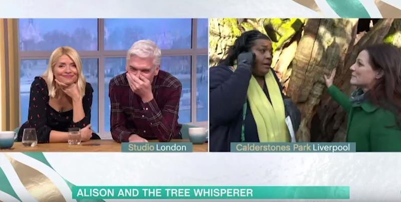 Holly Willoughby and Phillip Schofield were left amused at Alison's latest antics (Photo: ITV)