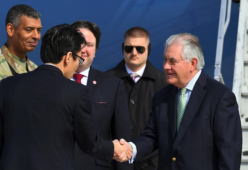 US Secretary of State Rex Tillerson (R) arrives in South Korea after China challenges him to come up with a new way to confront the North Korean nuclear stand-off