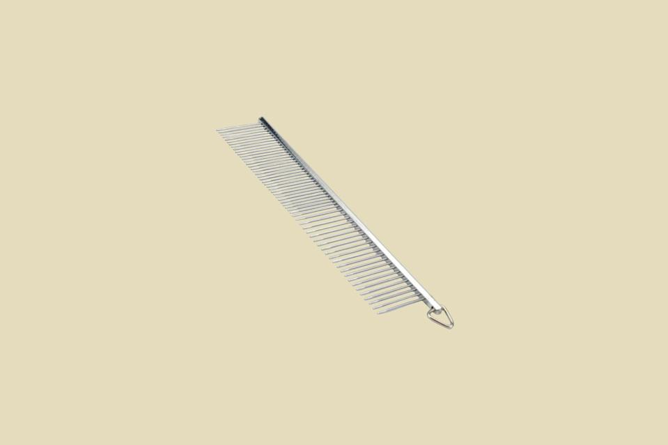 "<p>If your dog has a drop coat, like a Yorkie, Havanese, or Maltese, Chinchar says you'll need a greyhound comb to prevent and remove matts from their hair. ""I've been using this affordable comb for over 15 years,"" she says. ""Use the wide teeth on thicker coats. If you can get through the coat, you'll know you've brushed your dog well.""</p> <p><strong><em>Shop Now: </em></strong><em>Safari Greyhound Style Comb in Medium Fine (4 1/2""), $8.15, <a href=""https://www.amazon.com/Safari-Pet-Products-W558-Medium/dp/B0002AQUQG/ref=as_li_ss_tl?ie=UTF8&linkCode=ll1&tag=msllifebestdogbrushesbasedonhairtypecbiggsaug20-20&linkId=12791d943d09d75a370f0b886c8451a9&language=en_US"" rel=""nofollow noopener"" target=""_blank"" data-ylk=""slk:amazon.com"" class=""link rapid-noclick-resp"">amazon.com</a>.</em></p>"