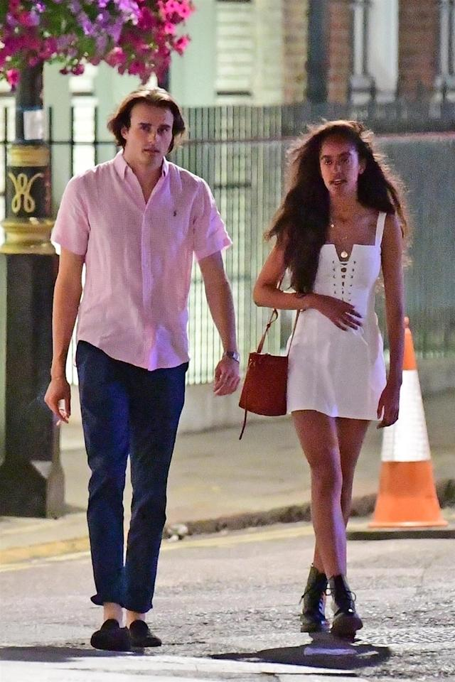 Rory Farquharson and Malia Obama on a stroll after a dinner date in London. (Photo: BackGrid)