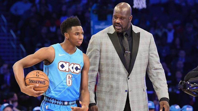 d15ccf43e93 NBA Player Hamidou Diallo Dunks Over Shaquille O'Neal's Head During  All-Star Dunk Contest