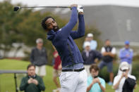 North Carolina A&T's J.R. Smith tees off on the first hole during the first round of the Phoenix Invitational golf tournament in Burlington, N.C., Monday, Oct. 11, 2021. Smith, who spent 16 years in the NBA, made his college golfing debut in the tournament hosted by Elon. (AP Photo/Gerry Broome)