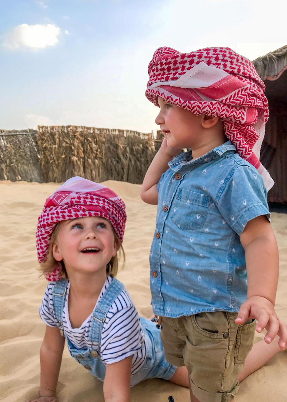 <span>Esme Bayes, four, and Quinn, one, in Abu Dhabi. </span>Photo: Caters News