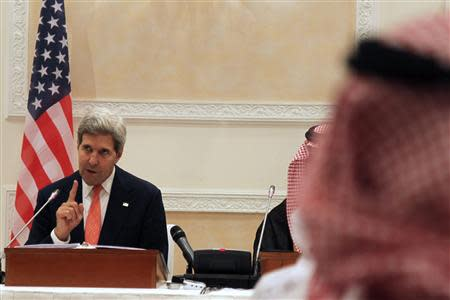 U.S. Secretary of State John Kerry speaks during a news conference in Riyadh
