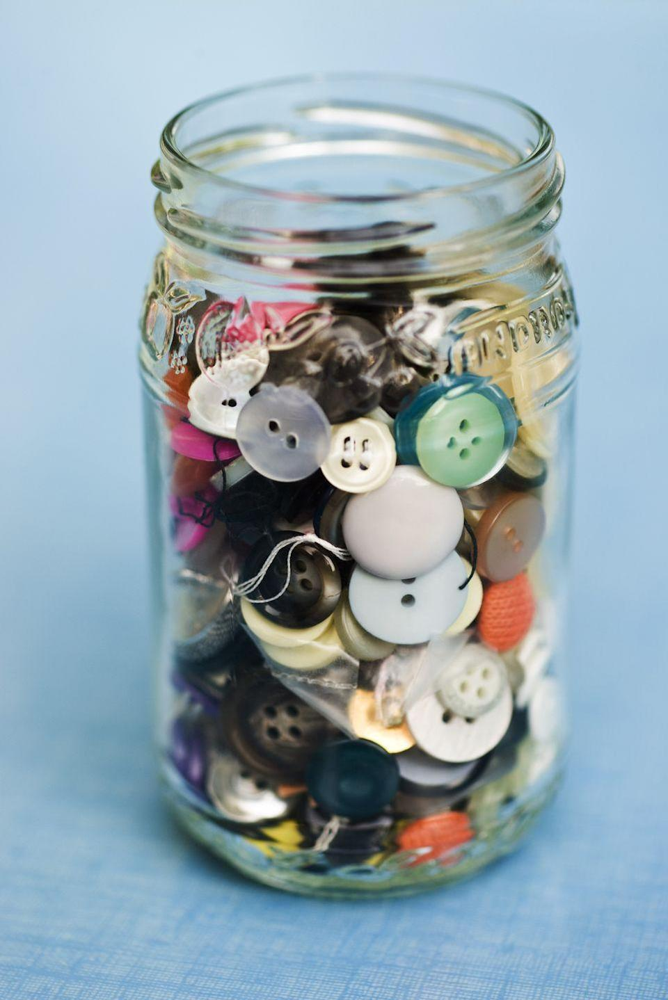 """<p>Unless of course you plan to use those abandoned buttons for a <a href=""""https://www.countryliving.com/diy-crafts/how-to/a42086/diy-button-art/"""" rel=""""nofollow noopener"""" target=""""_blank"""" data-ylk=""""slk:cute craft"""" class=""""link rapid-noclick-resp"""">cute craft</a> or have them prettily organized in a <a href=""""https://www.countryliving.com/shopping/gifts/g2057/mason-jar-gift-ideas/"""" rel=""""nofollow noopener"""" target=""""_blank"""" data-ylk=""""slk:mason jar"""" class=""""link rapid-noclick-resp"""">mason jar</a>, those stray buttons lingering in old coat pockets aren't doing you any favors. </p>"""