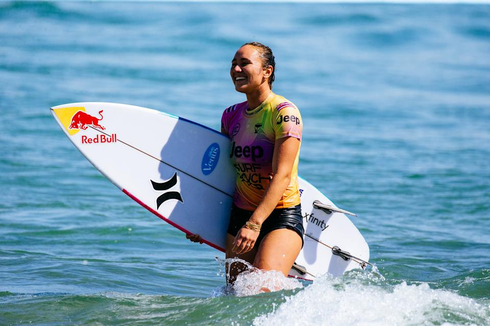 LEMOORE, CA - JUNE 20: Four-time WSL Champion Carissa Moore of Hawaii after surfs in the Women's Bonus Run of the Qualifying Round of the Jeep Surf Ranch Pro presented by Adobe on June 20, 2021 in Lemoore, California. (Photo by Jackson Van Kerk/World Surf League via Getty Images)