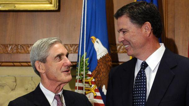 PHOTO: A Sept.4, 2013 file photo showing incoming FBI Director James Comey, right, talking with retiring FBI Director Robert Mueller at the Justice Department in Washington,D.C. (Susan Walsh/AP Photo)
