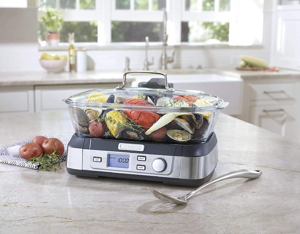 """<p><strong>Cuisinart</strong></p><p>amazon.com</p><p><strong>$149.95</strong></p><p><a href=""""https://www.amazon.com/dp/B01CU0949U?tag=syn-yahoo-20&ascsubtag=%5Bartid%7C10057.g.224%5Bsrc%7Cyahoo-us"""" rel=""""nofollow noopener"""" target=""""_blank"""" data-ylk=""""slk:BUY NOW"""" class=""""link rapid-noclick-resp"""">BUY NOW</a></p><p>Cuisinart's family size-steamer circulates heat from the top down for more evenly-cooked veggies, fish, and meat.</p>"""