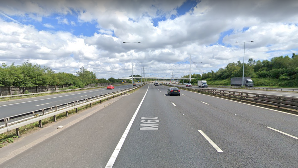 The M60 motorway where the driver was caught making a cup  of tea.