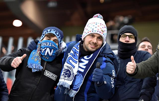 Soccer Football - Europa League Round of 32 Second Leg - RB Leipzig vs Napoli - Red Bull Arena, Leipzig, Germany - February 22, 2018 Napoli fans before the match REUTERS/Matthias Rietschel