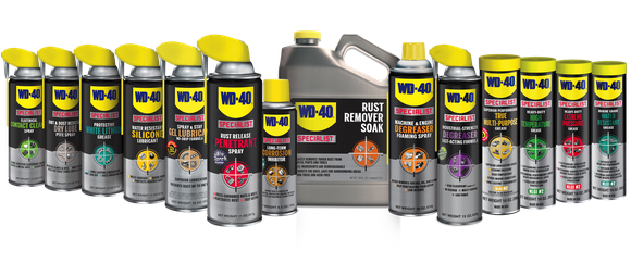 Several of WD-40's product offerings lined up.