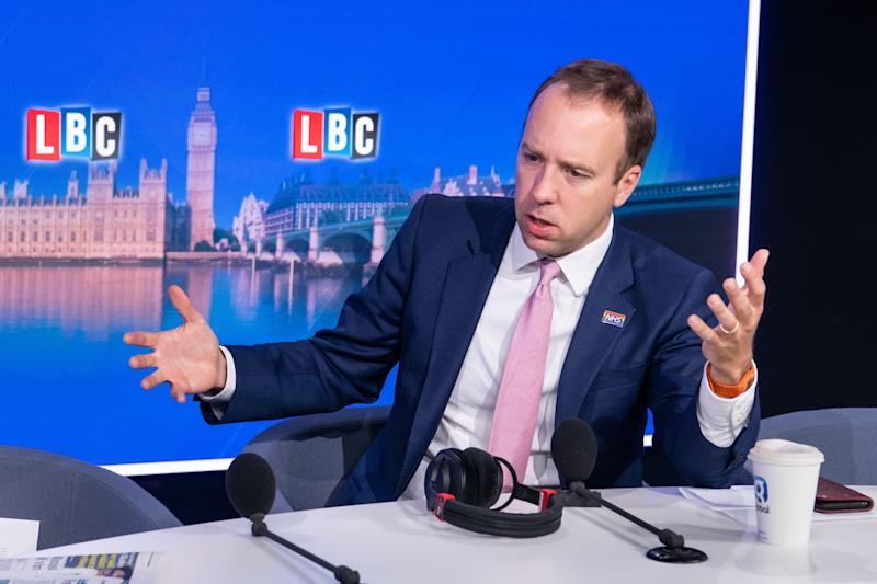 Health Secretary Matt Hancock pictured during LBC's new phone-in, Call the Cabinet, with host Nick Ferrari, at their new studio in Millbank, London. Picture date: Monday September 7, 2020. Photo credit should read: Matt Crossick/Empics
