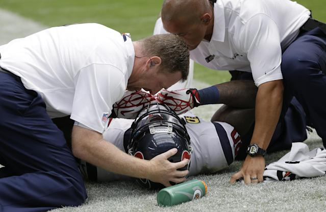 Houston Texans' Andre Johnson, center, is helped by staff after he was injured making a catch against Tennessee Titans' Jason McCourty during the fourth quarter of an NFL football game on Sunday, Sept. 15, 2013, in Houston. (AP Photo/David J. Phillip)