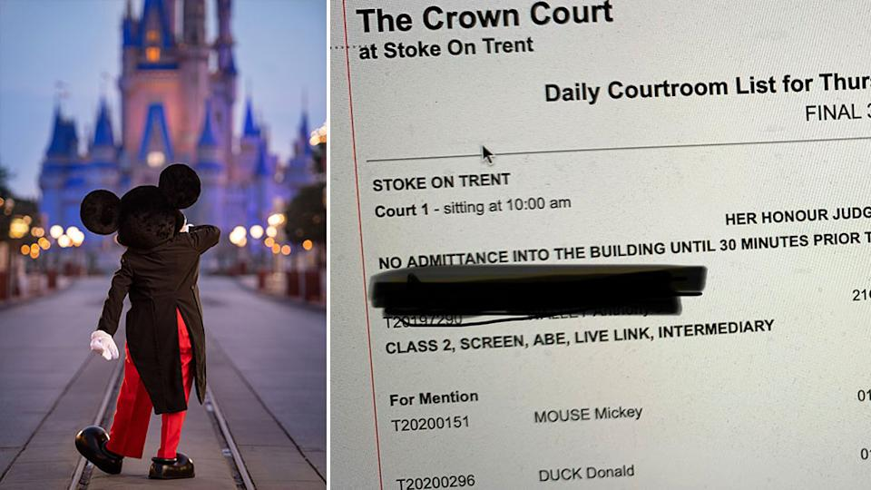 Disney characters including Mickey appeared on a court list. Source: Getty Images/Twitter - @Leisha007