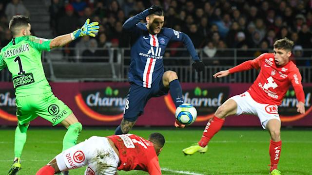 Mauro Icardi scored the winner as Paris Saint-Germain bounced back from their shock defeat to Dijon with a slender win over Brest.